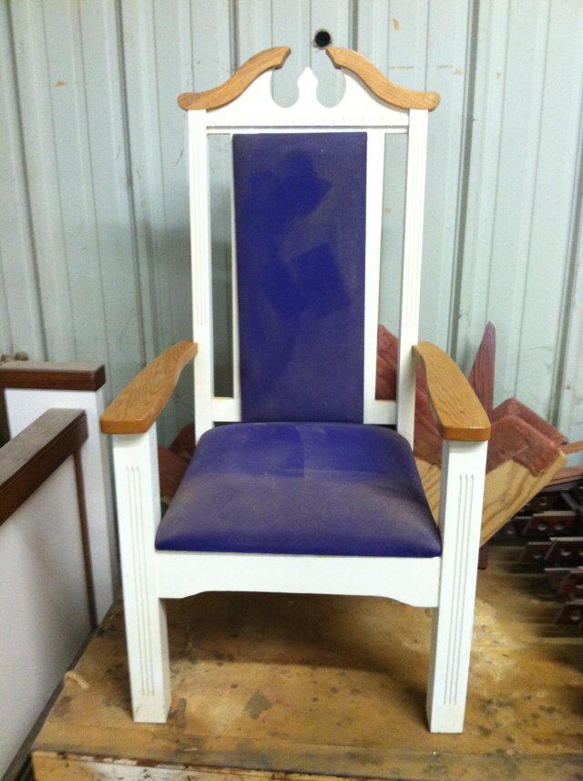 Used Pulpit Chair 25u201dW X 21u201dD X 50u201dT Sold As Is. We Will Change Fabric On  This Chair With Something We Have In Stock. $250.00