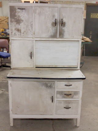 hoosier cabinet before hoosier cabinet after unfinished hutch before